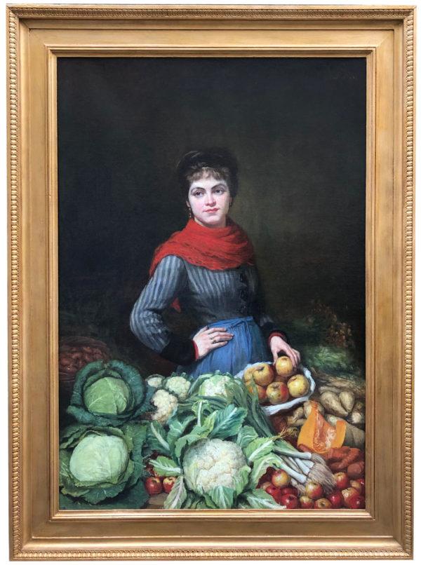 Grande huile sur toile, Marchande de légumes
