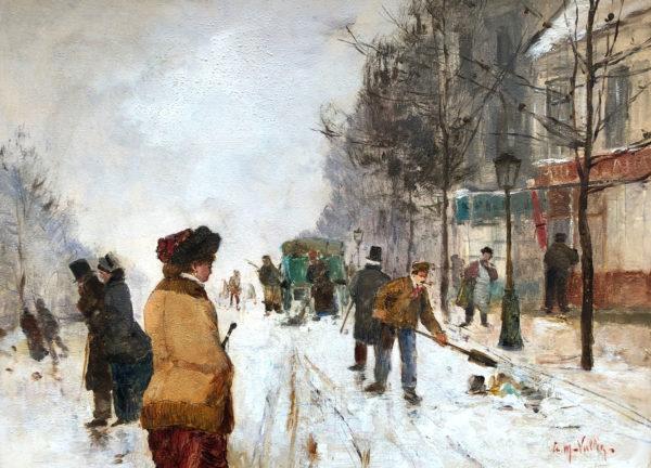 Paris , sous la neige - Etienne Maxime VALLEE (1853-1881)