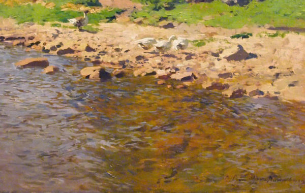 Bord de rivière, canard , bergers et moutons par OTTO GUNTHER-NAUMBURG