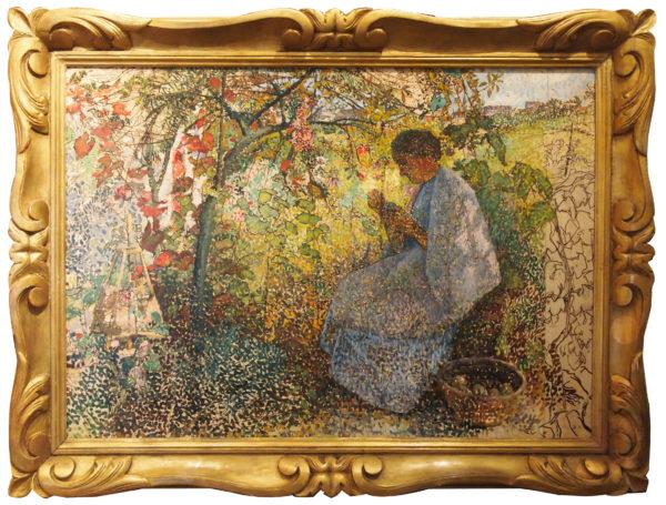 jeune femme cousant au jardin par Joseph Bernard ARTIGUE