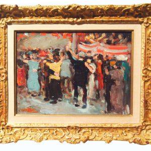 Huile sur panneau, Le bal par Jean VILLERI
